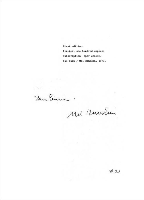 ART & LANGUAGE. Ian Burn, Mel Ramsden: Fist edition limited, one hundred copies; subscription (per annum). 1971