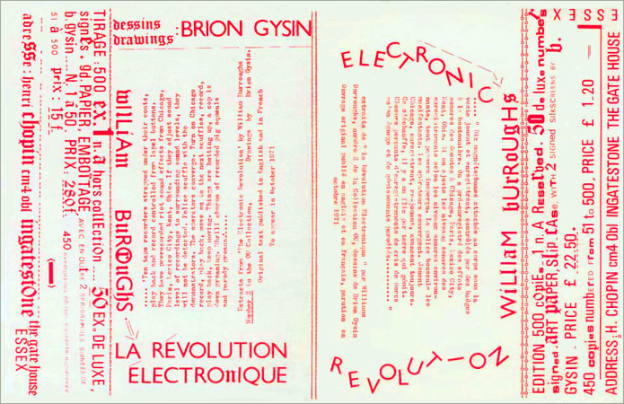 Announcement by Brion Gysin for the release of Electronic Revolution by William Burroughs