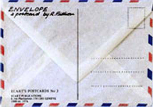 Robert FILLIOU: Envelope. A Postcard by R. Filliou. 1976